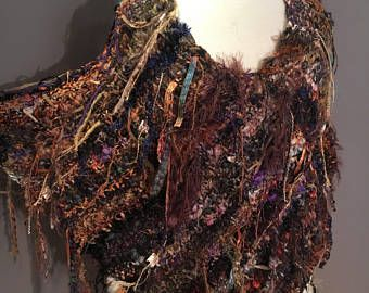Hand knit poncho, XL tapered wrap, Dumpster Diva 'Eggplant Harvest' Fringed Ponchos, one of a kind, handspun mohair, bohemian, wide neck