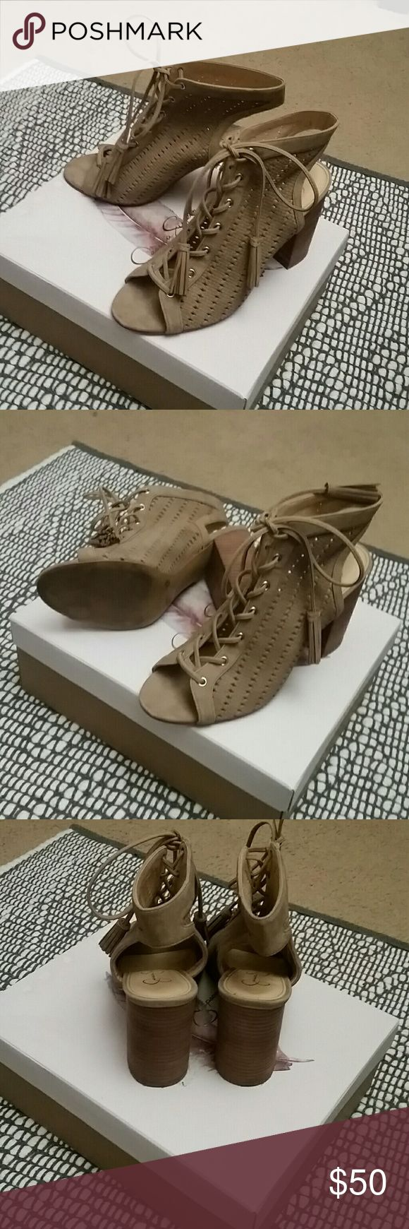 Jessica Simpson wedge shoes with tassel ties Cute with shorts,skinny jeans etc.The box says cashmere but also I'd say beige in color.Only wore a few times. Jessica Simpson Shoes Sandals