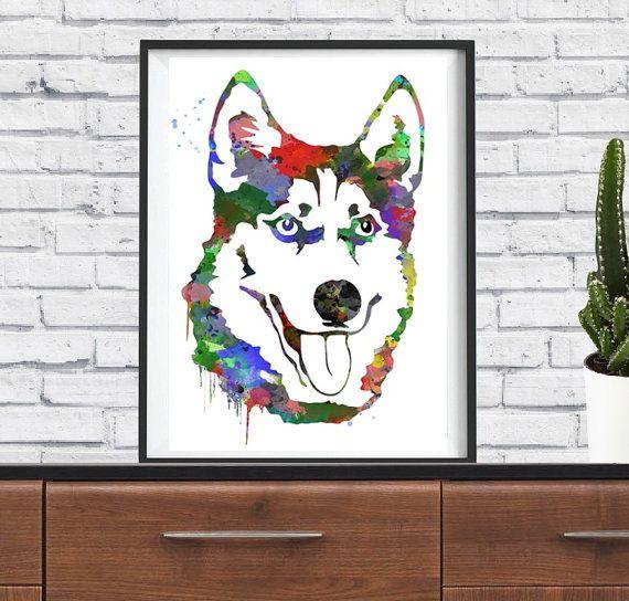 Husky Malamute Dog Hobby Funny Art Print door Stickersshopthree