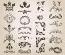 Ornate decorative elements vector. 5 sets of black vector ornate decorative elements, ornate flowers, ornamental patterns for your damask styled designs. Format: EPS stock vector clip art. Free for download. Theme: vector ornaments, ornate design elements.