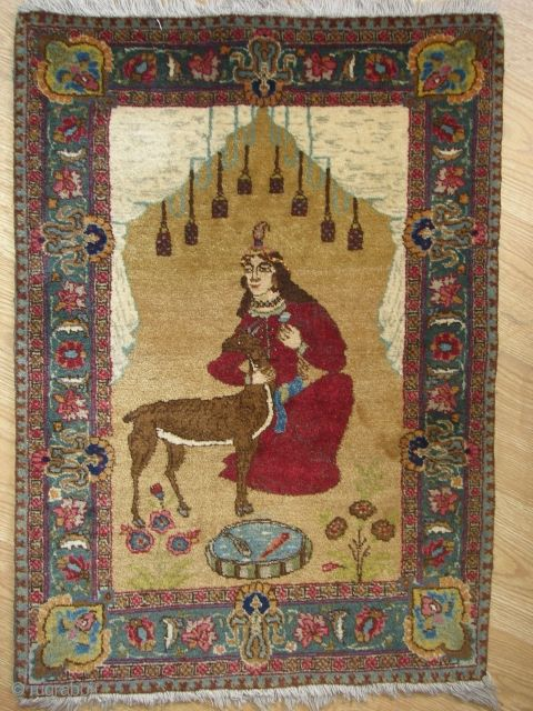Tabris picturel pair rug wonderful colours and excellent  condition all orginal 20th cen.