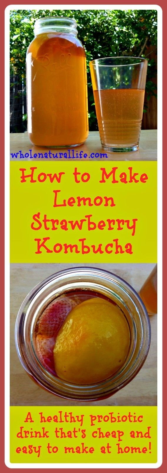 Lemon Strawberry Kombucha: A healthy and delicious probiotic drink that's cheap and easy to make at home!