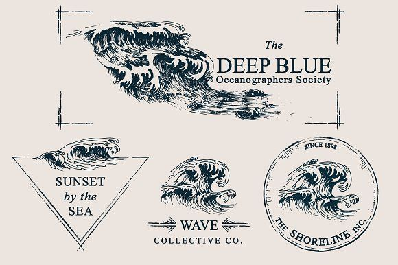 Wave Drawings & Logo Templates by Feanne on @creativemarket