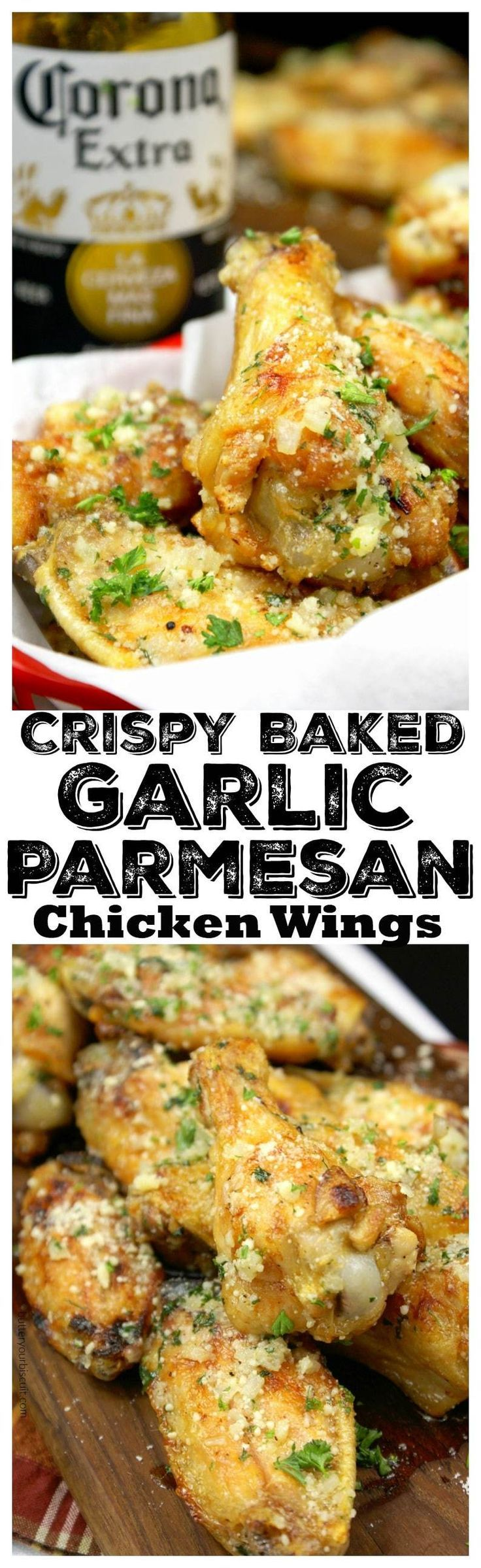 This Crispy Baked Garlic Parmesan Chicken Wings recipe are baked not fried, but you cant even tell the difference. They turn out super crispy without frying them.