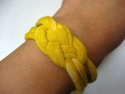 T-Shirt Knotted Bracelet- I love the girl who does the tutorial. She cracks me up. This is a Heidi safe project-meaning no glue guns or sewing machines.