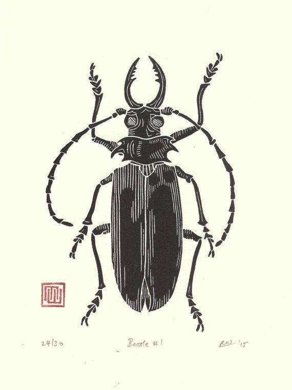 Beetle linogravure imprimer / / fait main / / par InkshedPress