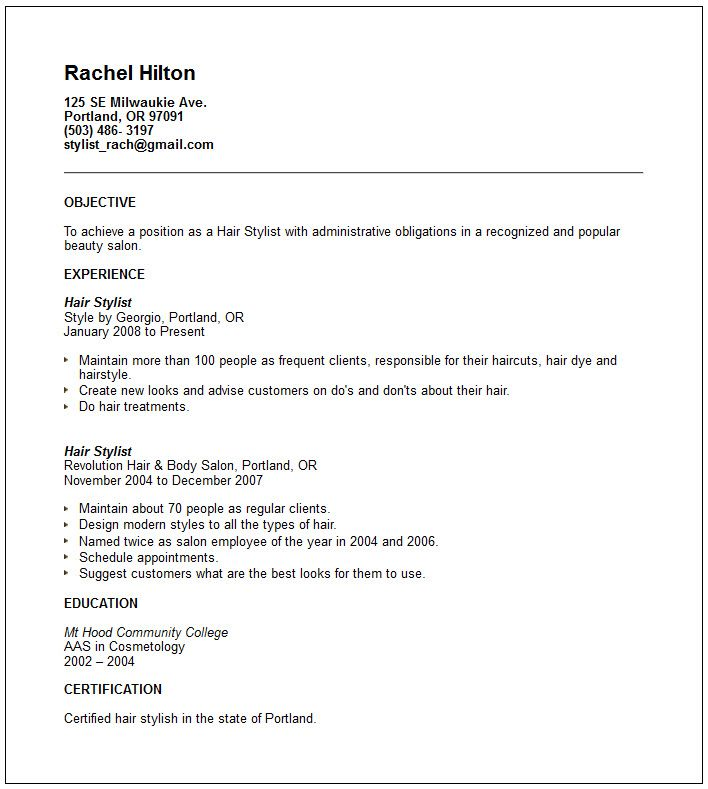 resume objective lines examples - Hairdresser Job Description