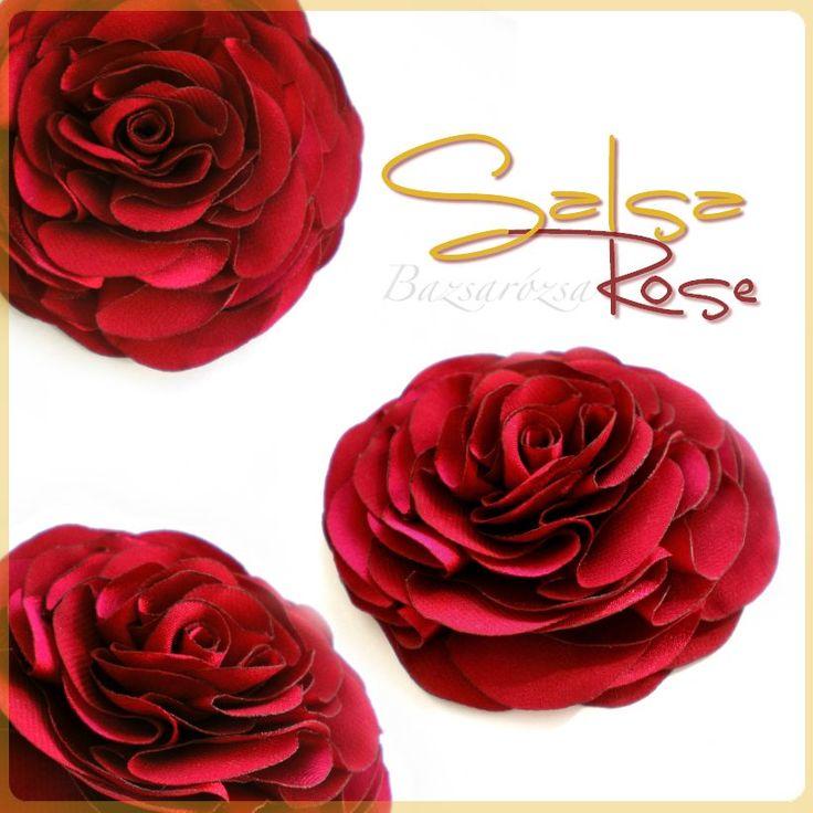 rózsa, vörös, salsa, Bazsarózsa, kitűző, fejdísz, hajdísz, esküvő, feminin, romantikus