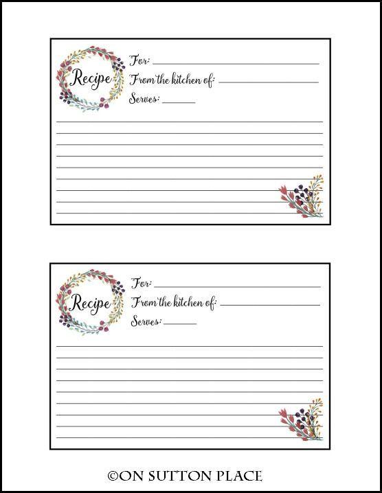 recipe card free printable