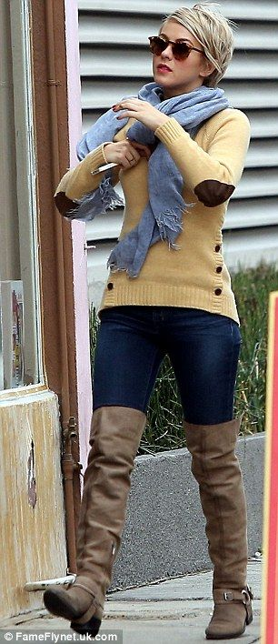 Julianne Hough is chic in beige thigh-highs, skinny jeans and co-ordinating cardigan | Mail Online