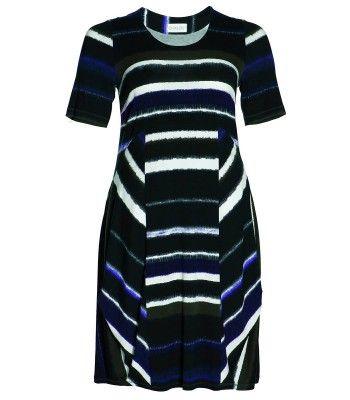 Langes XXL Damen Kleid für Mollige A-Linie Schwarz Lila von Chalou – Bild 1