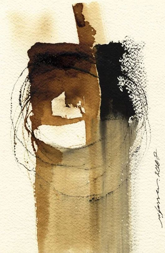 An untitled mixed media sketch and ink on paper abstract, created in 2007 by ...