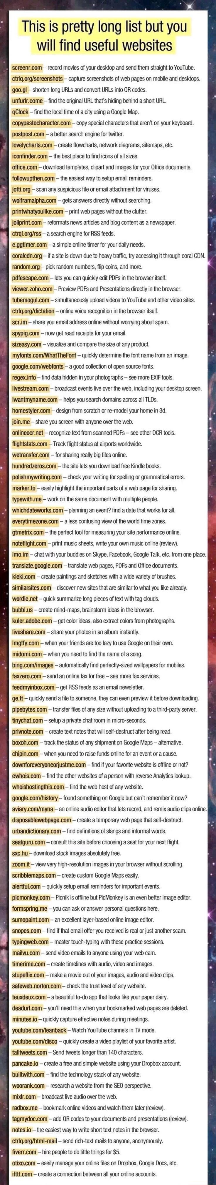 List of useful websites