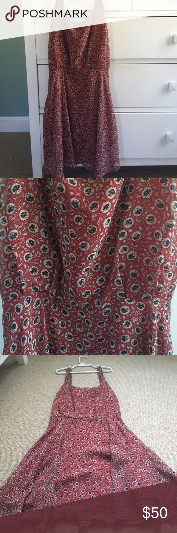 Lucca Couture Red Dress Red dress with blue floral pattern. Zips half-way down the back. Size small, only worn once! Perfect condition. I love this dress I'm just selling it because it's too small on me now. Brand is Lucca Couture from Urban Putfitters. Urban Outfitters Dresses Mini