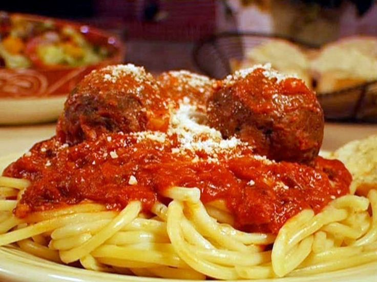 Bucatini with Bacon Sauce and Meatballs Recipe : Food Network