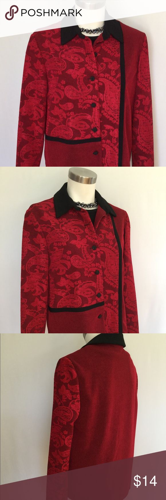Coldwater Creek Blazer Jacket Coldwater Creek Jacket Blazer. Festive red and black. Knit fabric with a little stretch. Great Condition. Size 6 Coldwater Creek Jackets & Coats Blazers