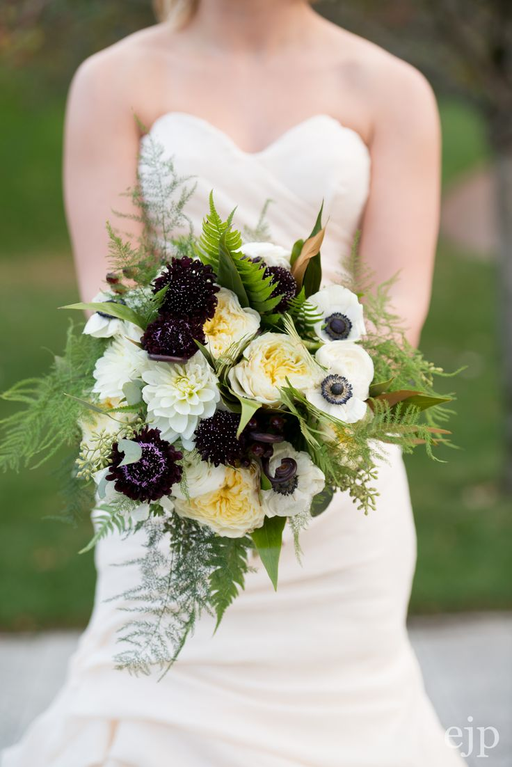 Scabiosa flower, garden roses, anemones, ferns, and plumosa.  Photo: Erin Johnson Photography