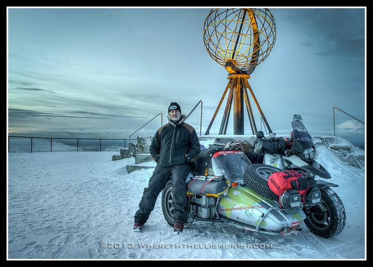 Nordkapp, Norway.  Christmas/ New Years 2012/2013. First, and only, motorcycle sidecar to reach Nordkapp on Jan 1st, 2013.