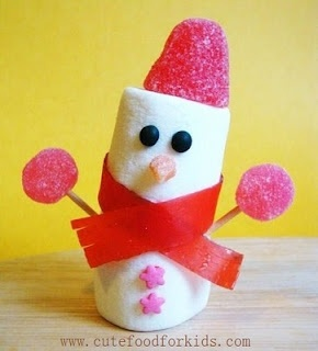 marshmallow snowman from cute food for kids