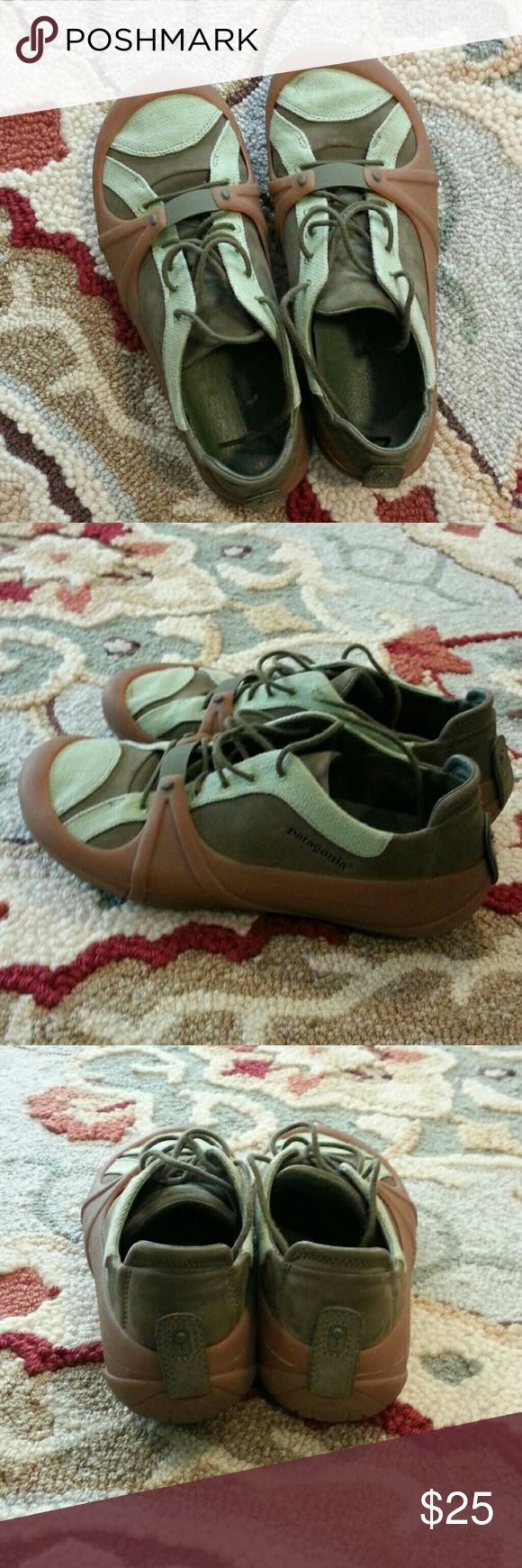 Women's Patagonia sneakers size 9 Women's Patagonia green and brown sneakers size 9.  Worn three times. Patagonia Shoes Sneakers