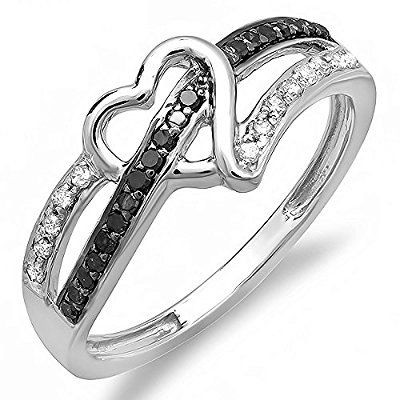 0.20 Carat (ctw) 10k Gold Round Black and White Diamond Ladies Promise Heart Love Engagement Ring 1/5 CT