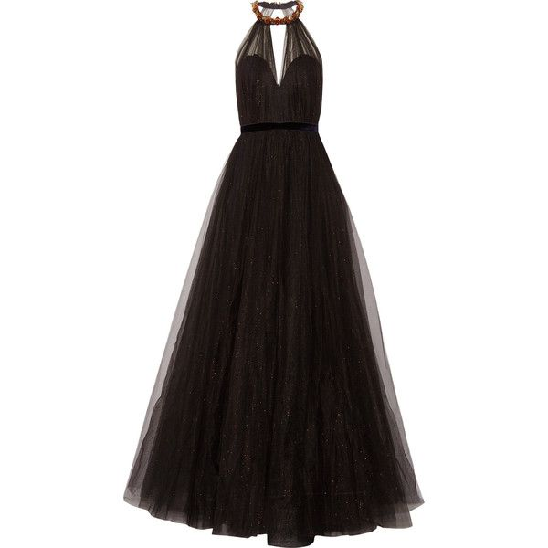 Jenny Packham Embellished glittered tulle gown (6 133 685 LBP) ❤ liked on Polyvore featuring dresses, gowns, vestidos, black, long dresses, tulle gown, tulle evening dress, halter neck dress, open back gown and halter dress