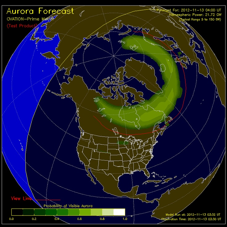 OVATION: An empirical model of the intensity of the aurora. The model uses solar wind conditions and the IMF at the L1 point as inputs.    The Display: Shows the intensity and location of the aurora as expected for the time shown at the bottom of the map. This forecast is based on current solar wind conditions and the average time for the solar wind to propagate from the ACE satellite at L1 to Earth.