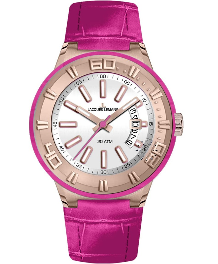 Jacques LEMANS Miami Sport Ladies Pink Leather Strap Μοντέλο: 1-1771I Η τιμή μας: 134€ http://www.oroloi.gr/product_info.php?products_id=33857