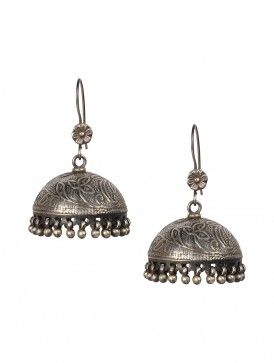 Pair of Floral Silver Jhumkis