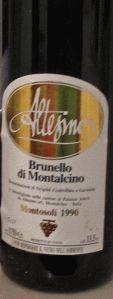 Brunello di Montalcino. Altesino, Montosoli 1990