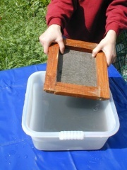 How to make paper. Also, http://video.about.com/familycrafts/How-to-Make-Paper-With-Kids.htm