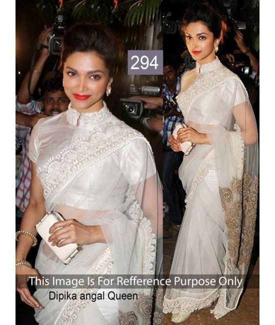 Bollywood Designer New Arrival White Saree Dipika
