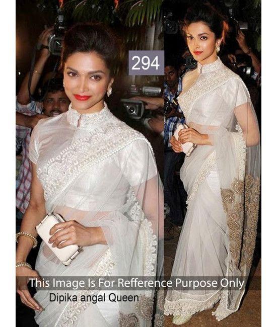 Bollywood Designer New Arrival White Saree Dipika