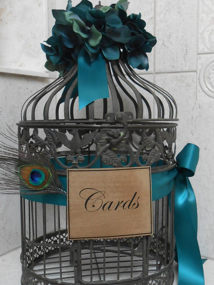 Wedding Card Holder / Birdcage Cardholder / Peacock Wedding. $66.00, via Etsy.