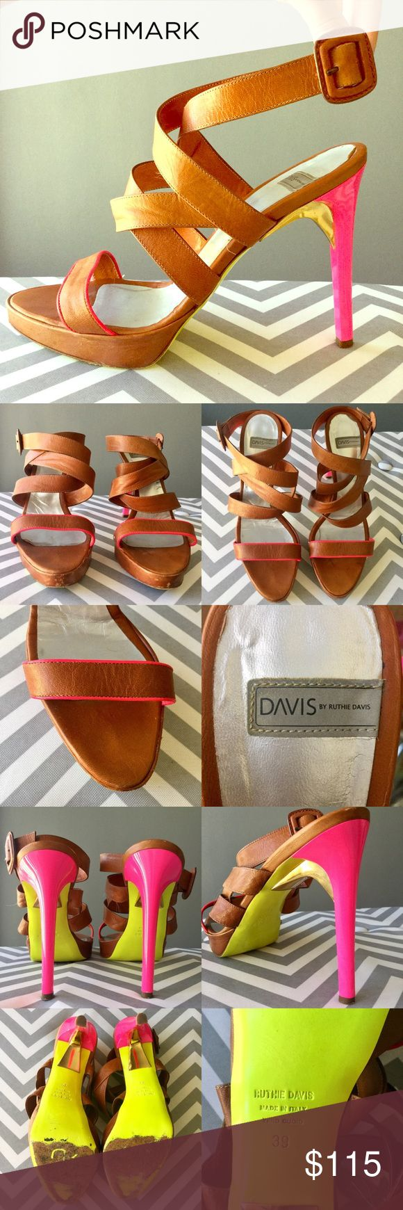 "Ruthie Davis Highline Crisscross strappy sandals 9 100% authentic Ruthie Davis honey brown strappy leather sandals, size 39.  Bubblegum pink heel, yellow soles, and a good accent. There is wear to the soles/insoles, and minor scuffs at the front of the toes; No major flaws.  Overall, very good condition!  Ankle strap with adjustable buckle.  5"" heel, 1"" platform.  No box or dust bag.  This sandal is very similar to the Ruthie Davis Highline Crisscross sandal (shown in model photos), except…"