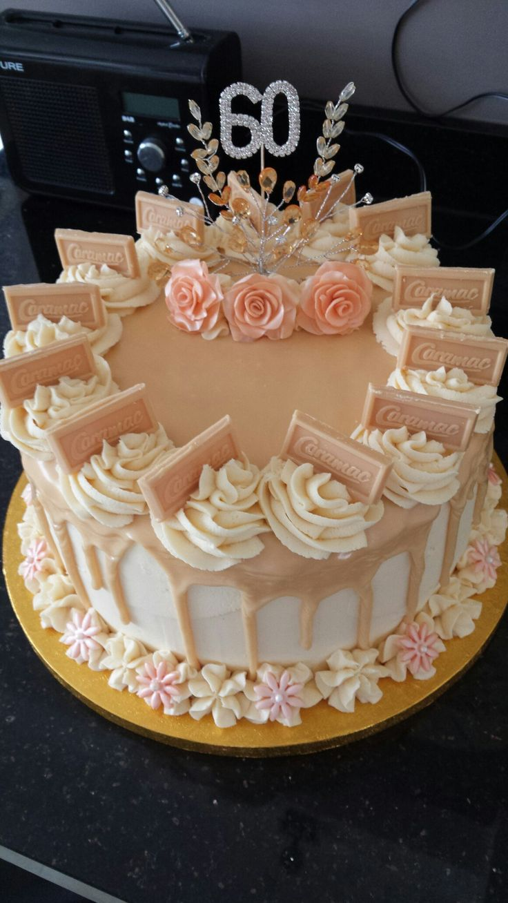 Caramac drip cake for 60th birthday | Cakes in 2019 ...