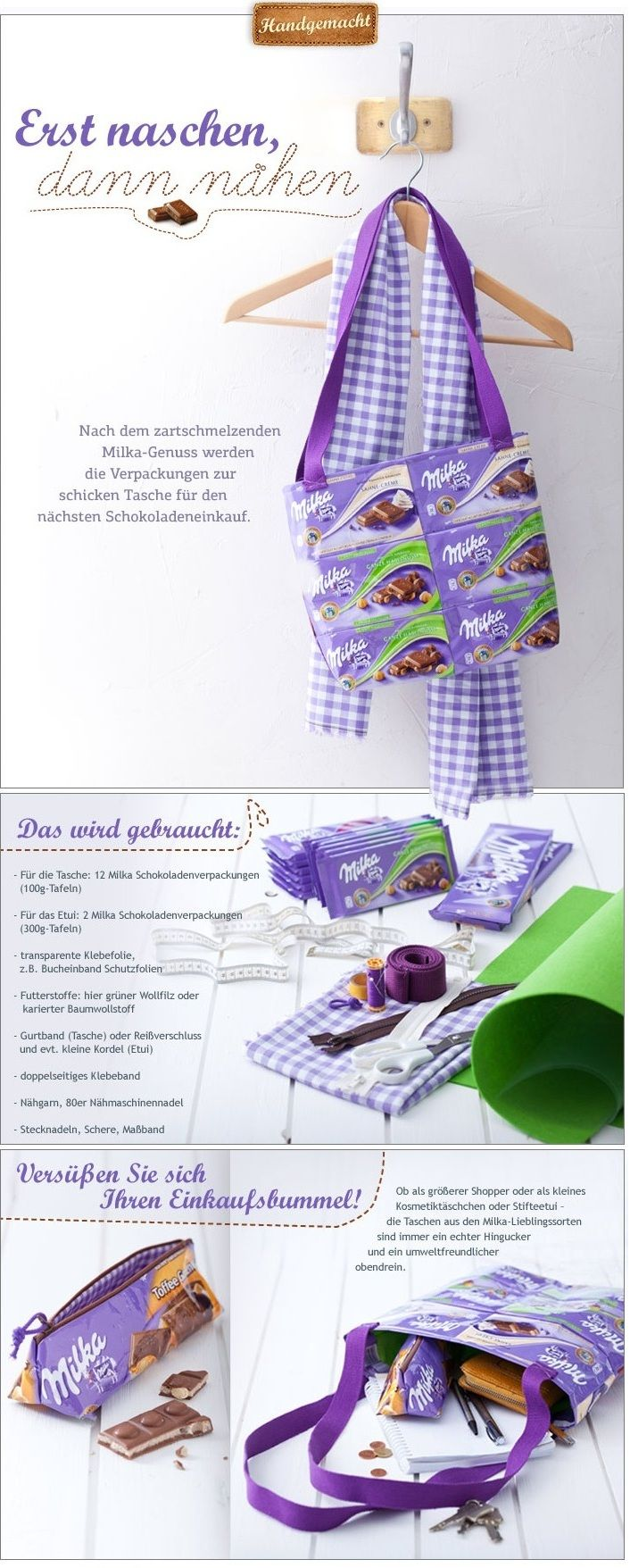 Upcycling: Taschen aus Milka Verpackungen