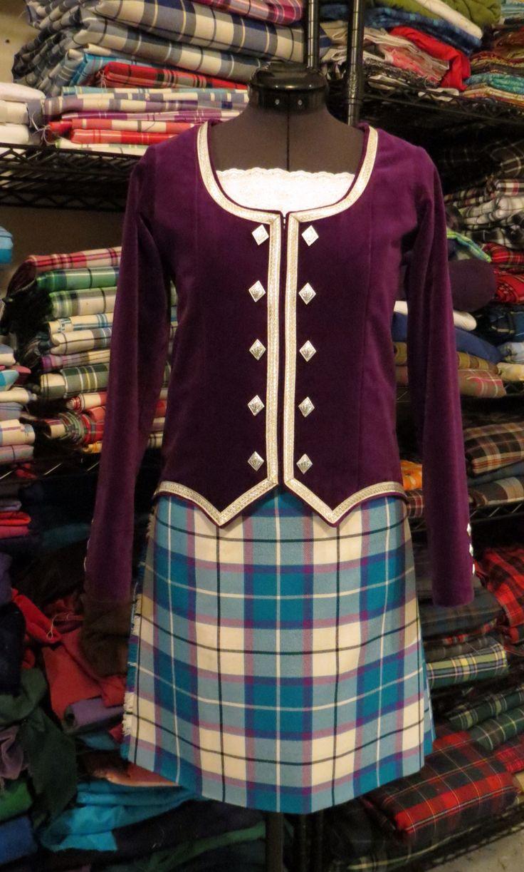 Bonnie Aqua tartan paired with the Bonnie Violet velvet.