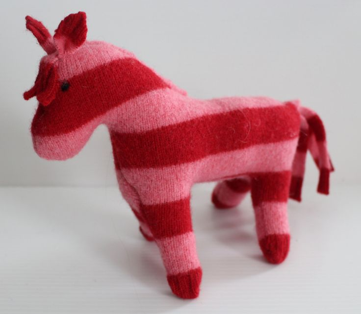 Stuffed horse: pink stripes repurposed wool sweater, plush horse, waldorf horse, horse toy, soft-sculpture horse by Woolopoly on Etsy