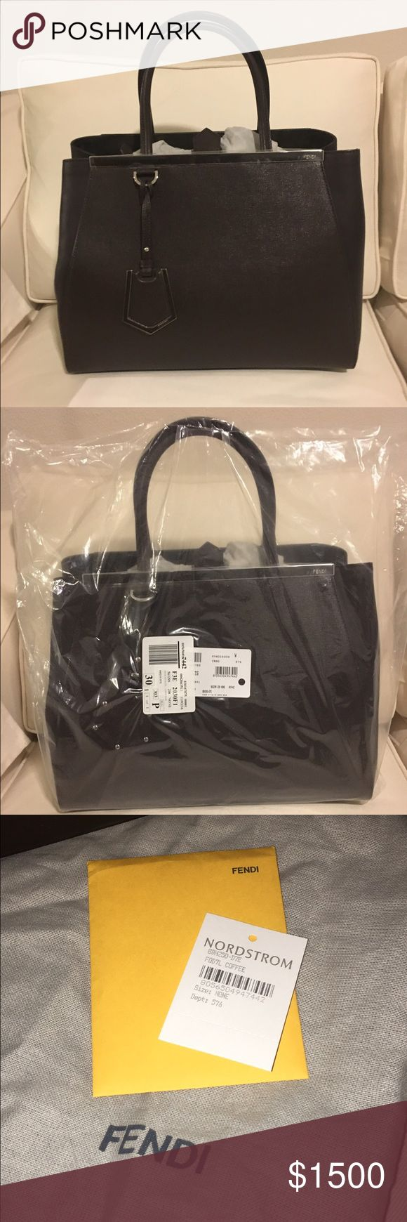 """Fendi 2jours Elite Leather Shopper Brand New with Tags. Purchased at Nordstrom.com. I thought it was black but unfortunately for me it's dark brown. Color is called Coffee Noir.    Silver Hardware, detachable shoulder strap.   15""""W x 11""""H x 6""""D. (Interior capacity: large.) 5"""" strap drop; 13 ½"""" shoulder strap drop. 2.7 lbs.  Purchased from Nordstrom.com                     NO TRADES Fendi Bags Satchels"""