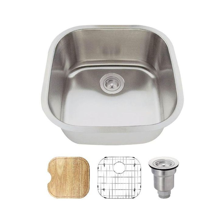 All In One Undermount Stainless Steel 20 In. Single Bowl Bar Sink, Brushed  Satin