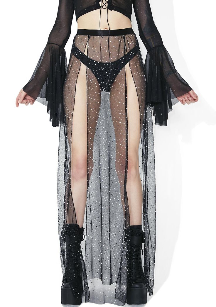 Club Exx Evil Beatz Sheer Maxi Skirt cuz you ride the dark wave, bb...Give off terminal twilight vibez in this haunting maxi featuring a sheer mesh construction sprinkled with holographic silver dots, double slits that go aaaaaaaall the way up and an elastic waistband for a comfy fit.