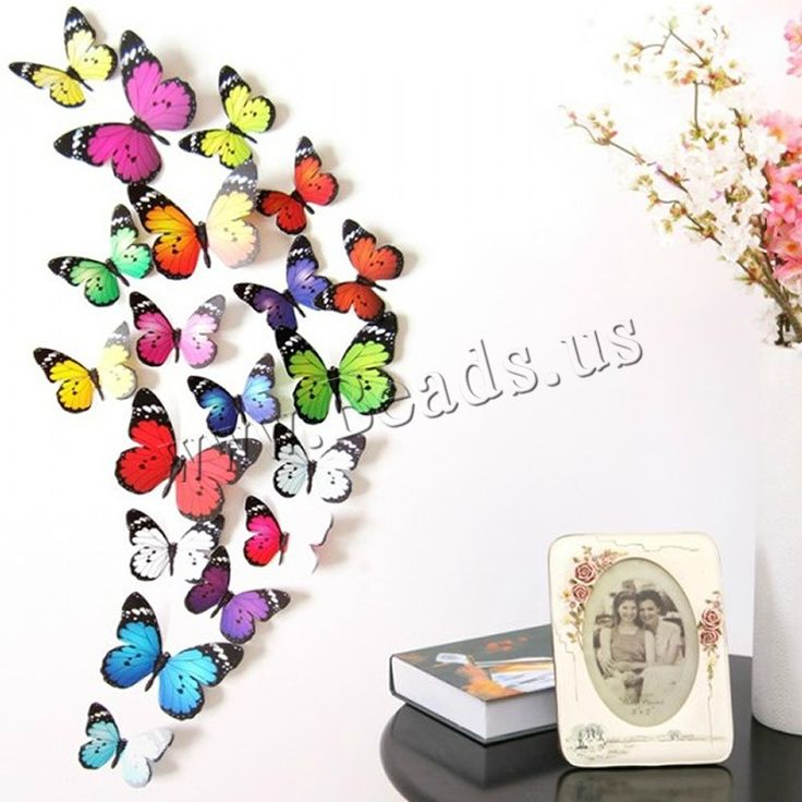 PVC Plastic Wall Stickers, Butterfly, sticky