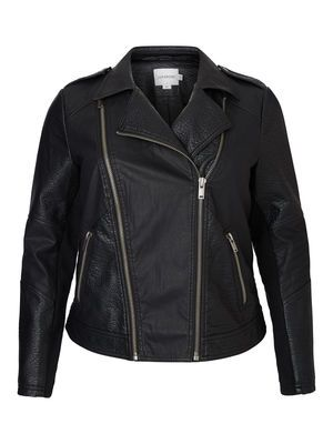 IMITATED LEATHER BIKER JACKET, Black