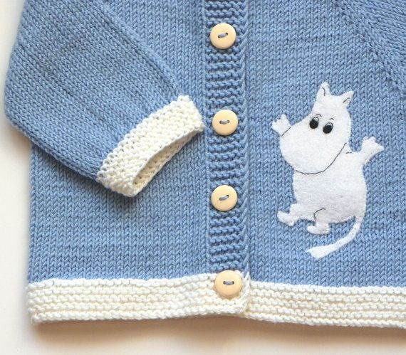 Blue Moomin jacket knit baby jacket knitted baby by Tuttolv, $31.00