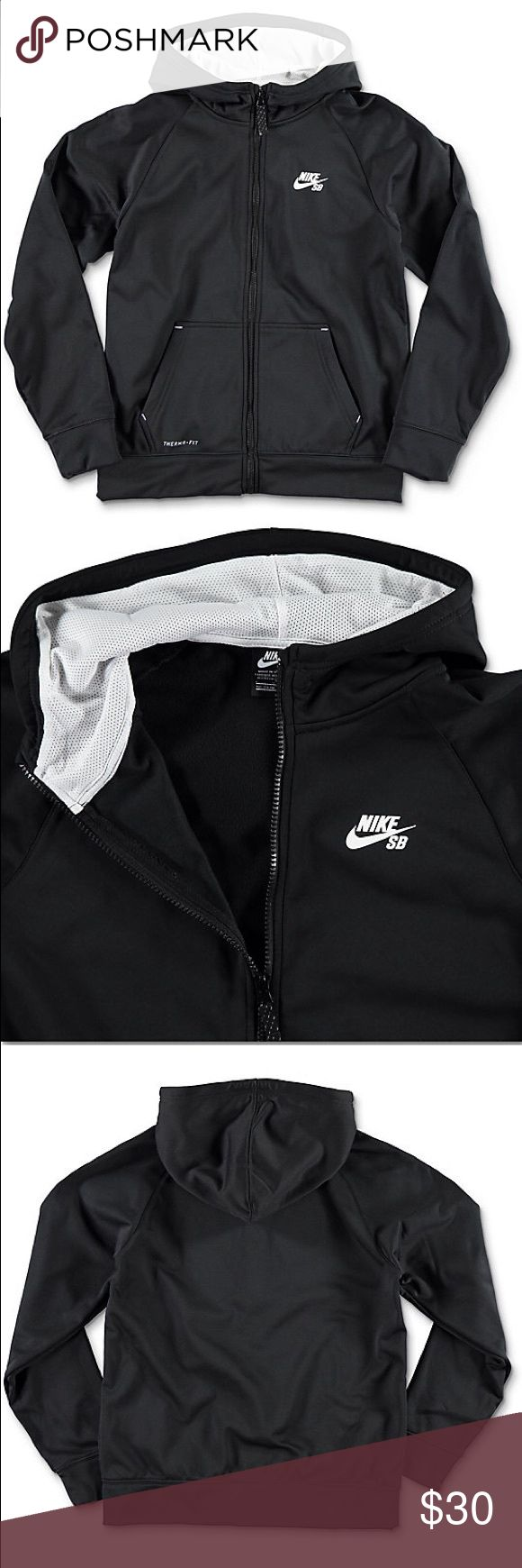 Therma-Fit Black Boys Zip Up Hoodie by Nike SB. Excellent used condition 👌🏼 Solid Therma-Fit Black Boys Zip Up Hoodie by Nike SB. Youth sizing. Black zip up closure. Screen print logo graphic on front left chest. White mesh lined hood. Two front hand pockets. Warm fleece lined body and sleeves. 100% polyester. Turn inside out, machine wash cold, tumble dry low. Imported. Nike Jackets & Coats