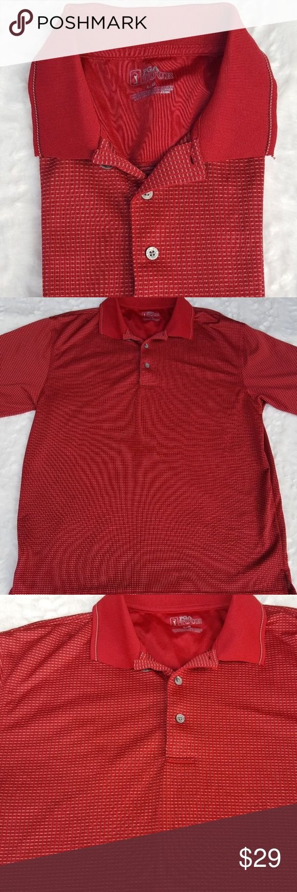 """Mens PGA Red Golf Polo Shirt Size Large Mens PGA Tour Red Golf Polo Shirt Size Large Active Wear Short Sleeve  Type: Mens Shirt Style: Polo Shirt Golf Brand: PGA Tour Material: 100% Polyester Color: Red, White Measurements: Armpit to armpit 22"""", Shoulder to hem 27.75"""" Condition: Used Country of Manufacture: Jordan PGA Tour Shirts Polos"""