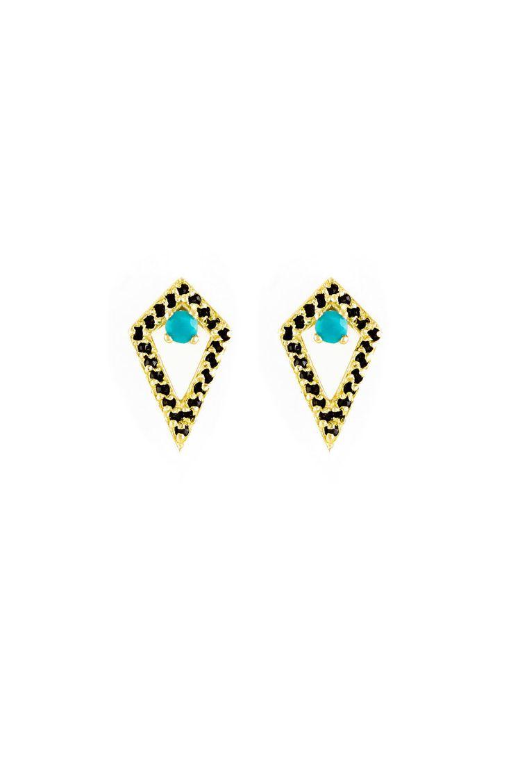 The Muse Stud Gold Black Diamond Earrings