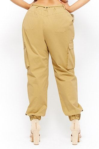 dd2d510042e Plus Size Belted Cargo Joggers