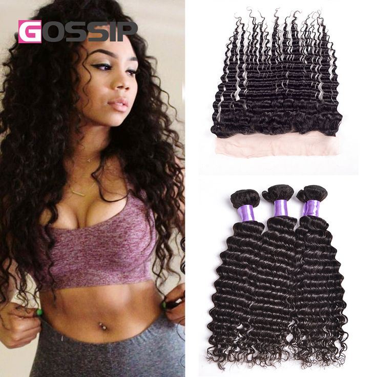Brazilian Deep Wave Lace Frontal Closure With Bundles Brazilian Curly Virgin Hair With Frontal Closure Deep Wave With Closure